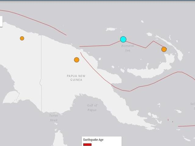 A map of Papua New Guinea showing the epicentre of the quake (blue) that hit the island nation on Tuesday, 26 July 2016.
