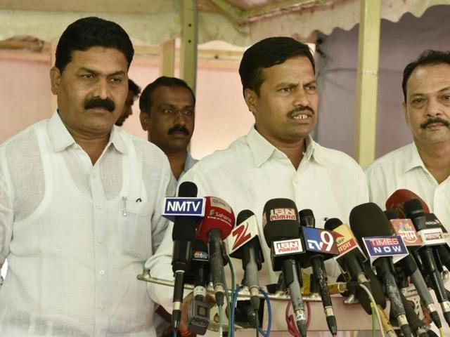 NCP MLA Vikram Kale speaks to the media on implementation of the seventh pay commission, during the Assembly session at Vidhan Bhavan on Monday.