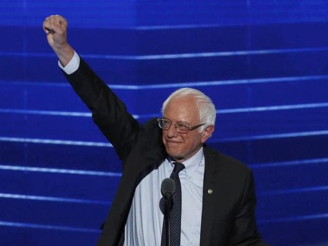 Senator Bernie Sanders  speaks on the first day of the Democratic National Convention at the Wells Fargo Center in Philadelphia, Pennsylvania on Monday.