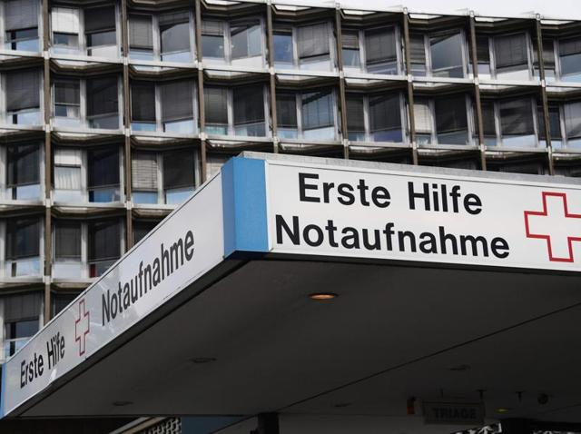 The emergency entrance of the Charite university hospital is pictured in south-western Berlin.