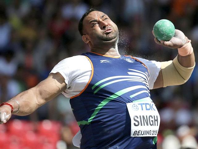 India's Inderjeet Singh competes in men's shot put qualification at the World Athletics Championships at the Bird's Nest stadium in Beijing. (AP Photo/Andy Wong)