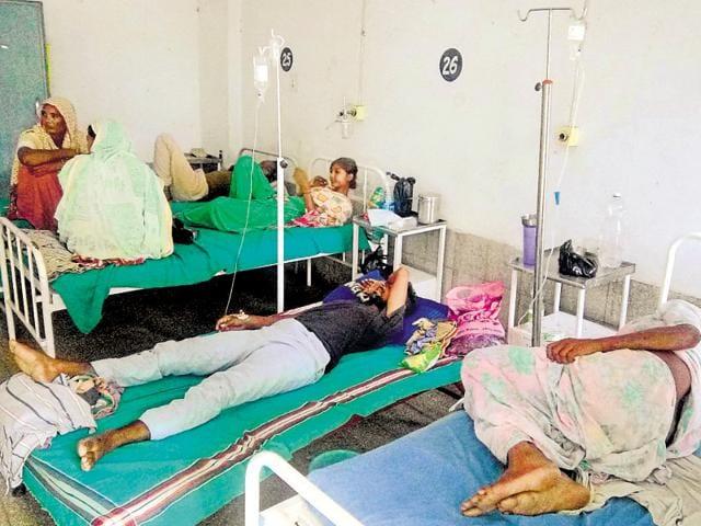 Diarrhoea patients at the Civil Hospital, Moga, on Monday.
