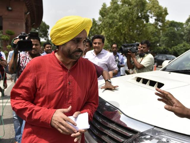 AAP's Bhagwant Mann addresses media during the Monsoon Session of Parliament in New Delhi.