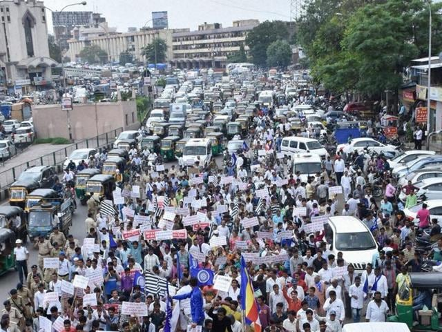 Dalit community takes out a protest rally in Surat on Monday against the thrashing of four youths in Una.