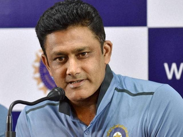 India head coach Anil Kumble watches a practice session.