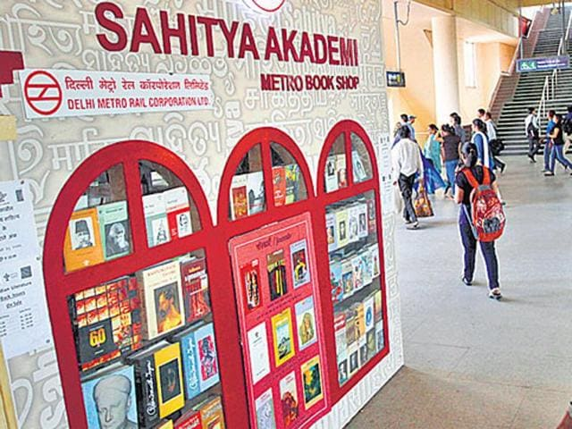 The Sahitya Akademi bookstore at the busy Kashmere Gate station in New Delhi. (Virendra Singh Gosain/ HT photo)