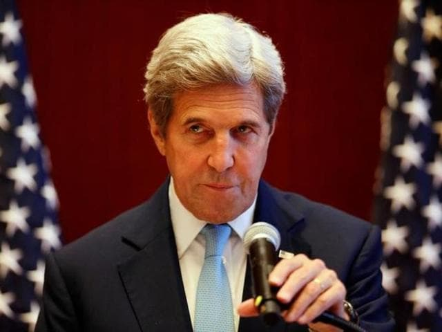 US secretary of state John Kerry speaks during a press conference after he attended the East Asia Foreign Ministers' meeting on the sidelines of the Association of Southeast Asian Nations (ASEAN) annual ministerial meeting in Vientiane on Tuesday.