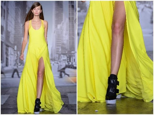 We take a look at some of the label's best looks, starting with its red carpet-worthy dresses that put neons in the spotlight. (AFP)