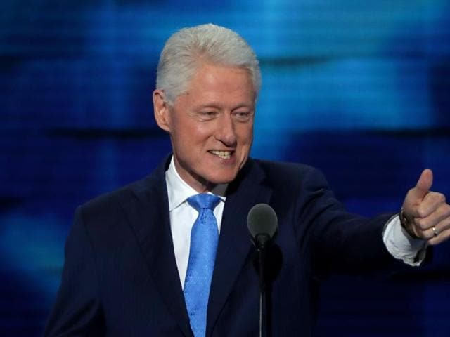 Former US President Bill Clinton arrives on stage to deliver remarks on the second day of the Democratic National Convention at the Wells Fargo Center, July 26, 2016 in Philadelphia, Pennsylvania.