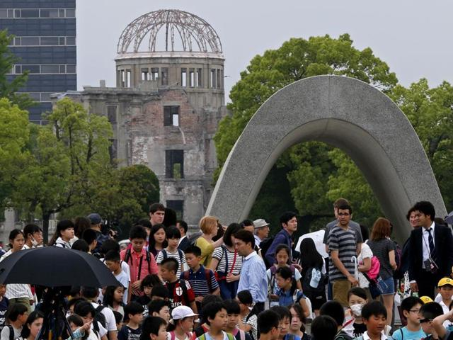 People visit the Hiroshima Peace Memorial Park in Hiroshima, Hiroshima Prefecture, southern Japan.
