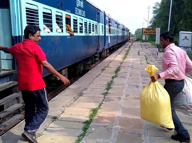 Policemen with poppy husk at Malhargarh station on Tuesday.