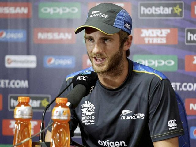 New Zealand's cricket team captain Kane Williamson addressing a press conference.