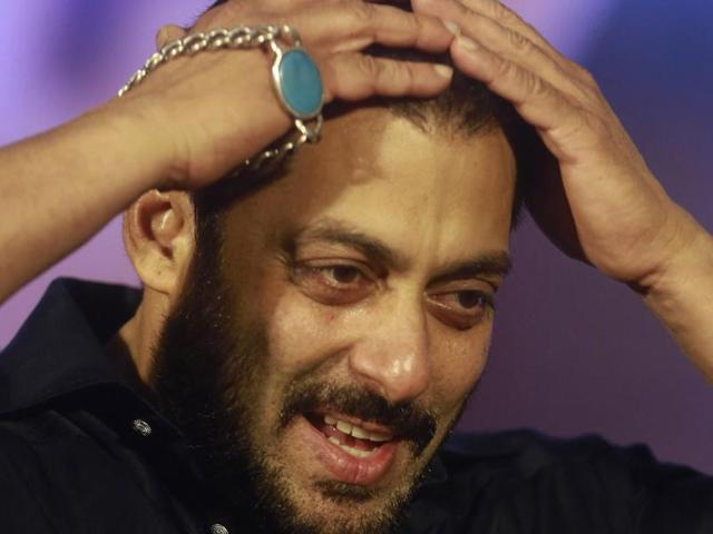 Bollywood actor Salman Khan looking on during a promotional event for a Hindi film in Mumbai.