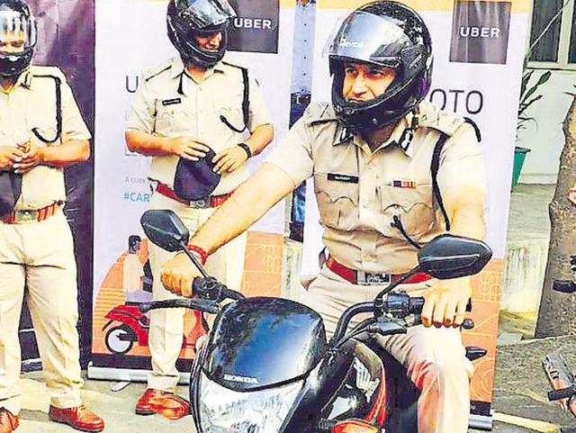 Gurgaon police during the launch of UberMOTO in March.