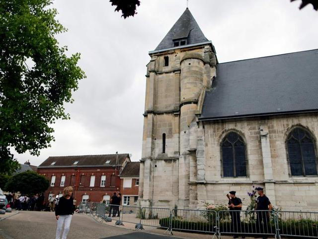 The church where a priest was killed the day before in the latest of a string of attacks against Western targets claimed by the Islamic State jihadist group, at Saint-Etienne-du-Rouvray, France.