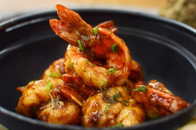 A bowl of pepper and ginger prawn