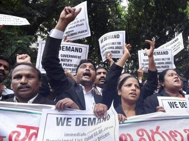 Telangana advocates protest in front of the high court., demanding separate a high court for Telangana, in Hyderabad in June.