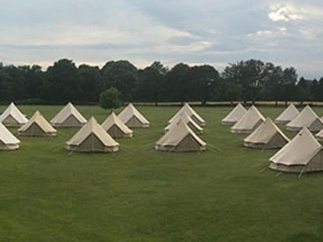 A view of the camp on the outskirts of London where the HSS will hold its Sanskriti MahaShibir 2016.