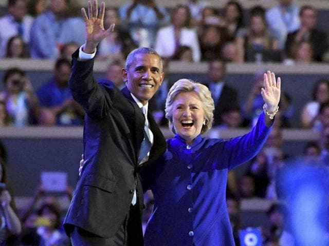 US President Barack Obama and Democratic Presidential candidate Hillary Clinton on the third day of the Democratic National Convention in Philadelphia.