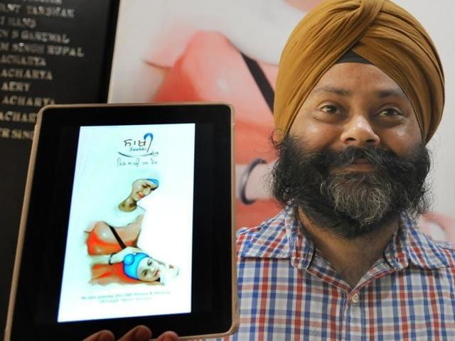 Gurpreet Singh, developer of mobile app  'Saakhi', at the app's launch in Chandigarh on Thursday.