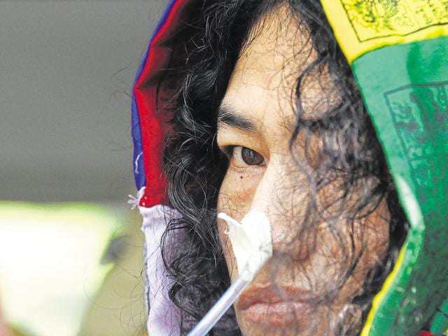 Irom Sharmila leaves after appearing at the Patiala House Court in Delhi on October 7, 2015.
