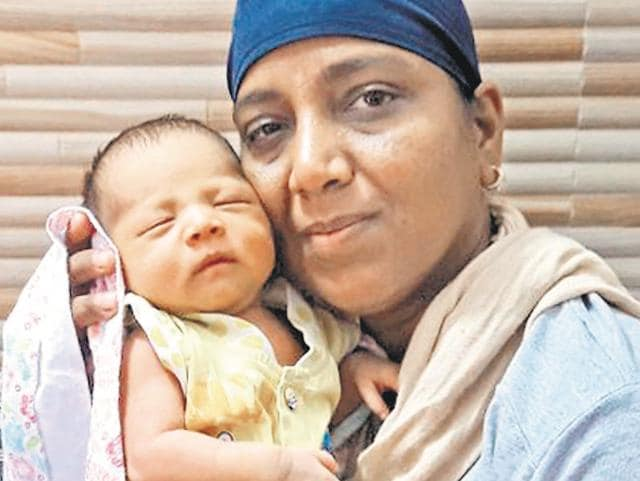 Baby boy Harnoor at the Swami Ganganand Bhuri Wale International Foundation at Talwandi Khurd.