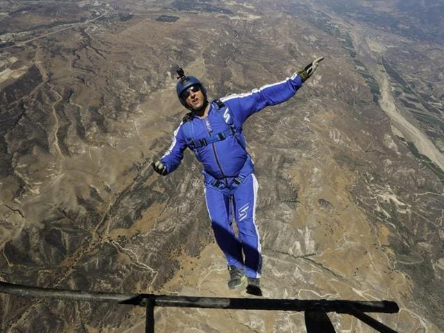 Skydiver Luke Aikins jumps from a helicopter during his training in Simi Valley, Calif.