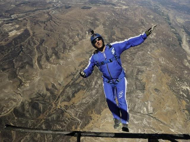 Skydiver Luke Aikins prepares to jump from a helicopter in Simi Valley, California.