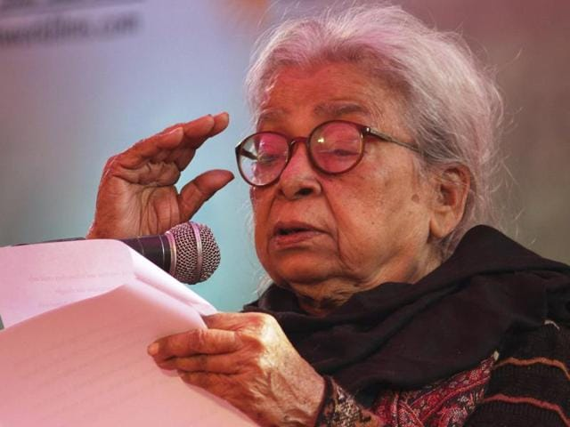 In this file photo from January 2013 file photo, Indian writer Mahasweta Devi delivers the keynote address during the opening of Jaipur Literature Festival in Jaipur.