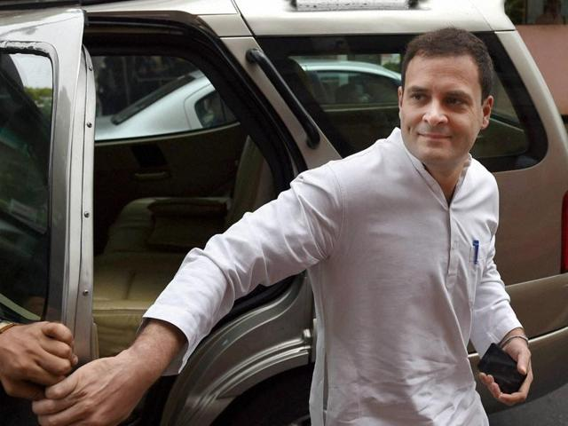 Congress vice-president Rahul Gandhi arrives in Parliament during the monsoon session.