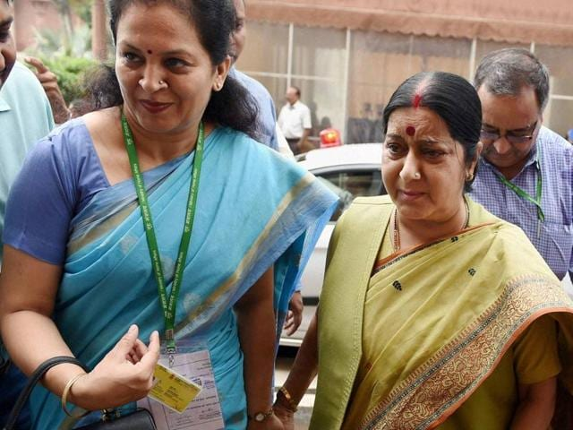 Foreign minister Sushma Swaraj arrives in Parliament during the monsoon session.