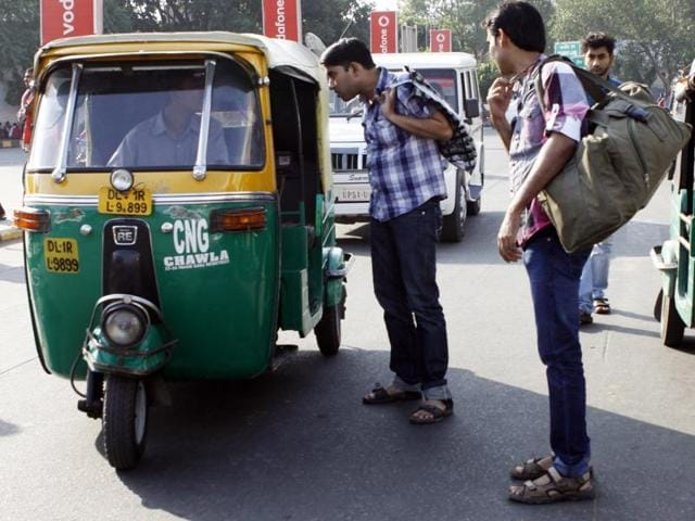 Passengers vying for auto as auto rickshaws and taxis union are on strike demanding a hike in fares and high prices.