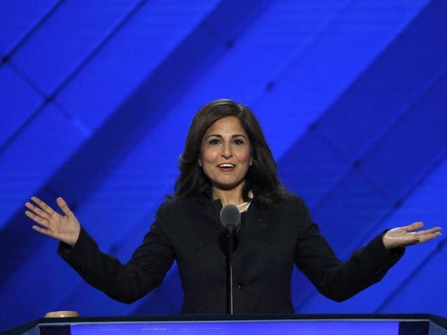 Center for American Progress Action Fund president Neera Tanden speaks on the third day of the Democratic National Convention in Philadelphia.