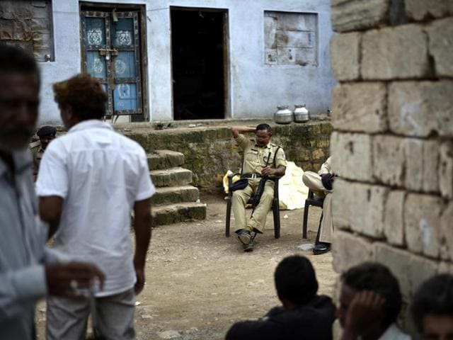 Tight security seen after the Una Dalit row, at Mota Samdhiyala village in Una, Gujarat.