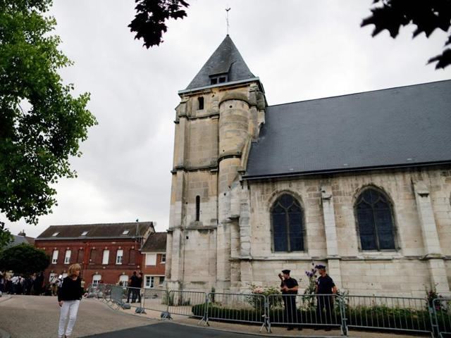 A picture taken on July 27, 2016 in Saint-Etienne-du-Rouvray shows the church, where a priest was killed.