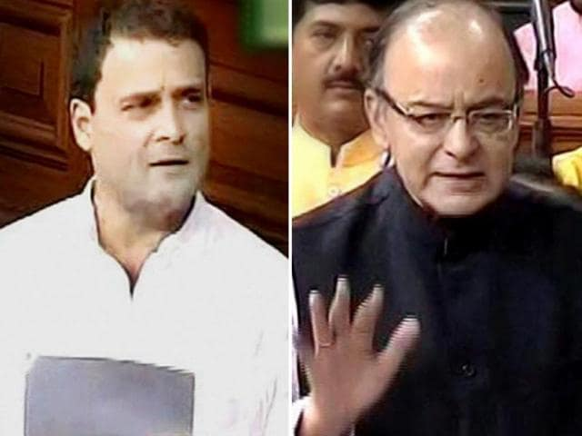 Congress vice president Rahul Gandhi (Right) highlighted the spiralling prices of pulses and other food items and targeted PM Modi in a debate in Parliament on July 28, 2016.