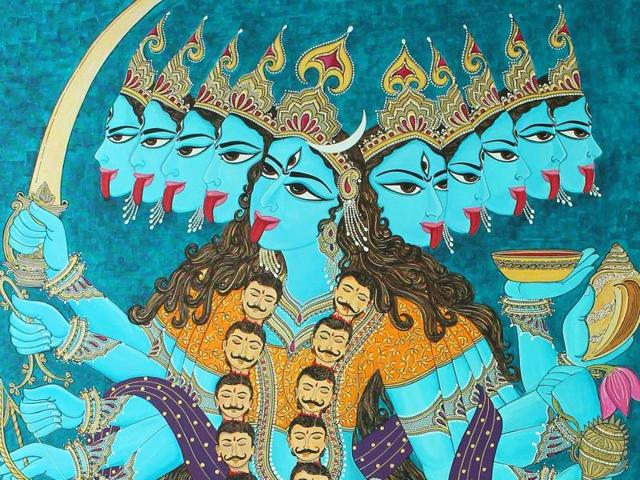 Artist Ritu Gupta was inspired by festivals and prayers during her childhood. This is reflected in her works. Her latest exhibition, A Hue of Devotion, will exhibit devotional paintings. A painting on goddess Kali by her.