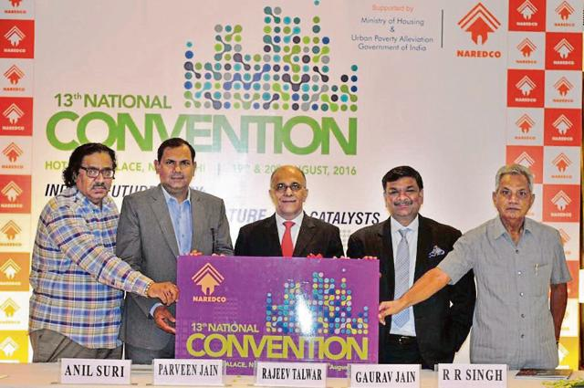 (from left) Naredco members, Anil Suri, GC member; Parveen Jain, president; Rajeev Talwar, chairman; Gaurav Jain, GC member, and RR Singh, DG, unveiling the two-day convention logo.