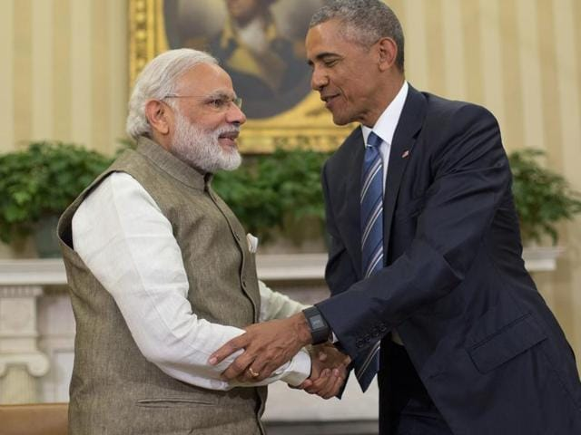US President Barack Obama with Prime Minister Narendra Modi at the Oval Office of White House in Washington.