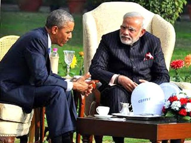 Prime Minister Narendra Modi and US President Barack Obama during 'Walk and Talk' at Hyderabad House in New Delhi.
