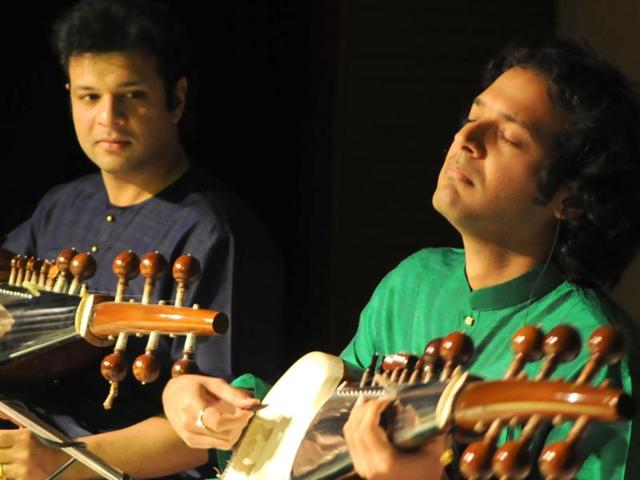 Sarod recital by Amaan (left) and Ayaan Ali in Chandigarh on Thursday.