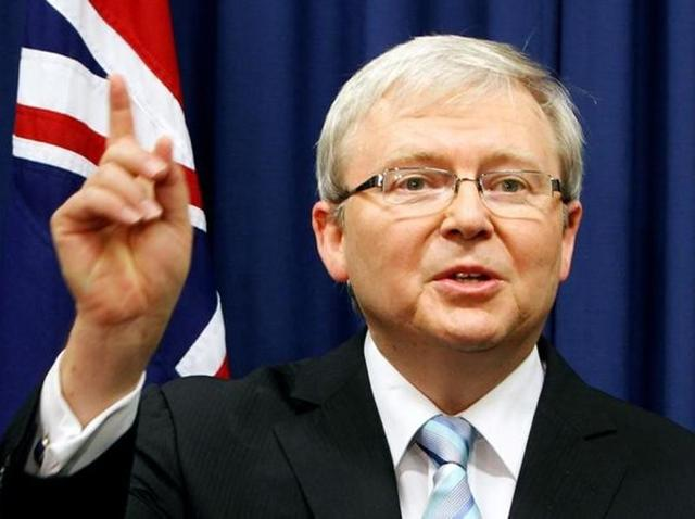 File photo of Australia's former prime minister Kevin Rudd during his election campaign in 2013.