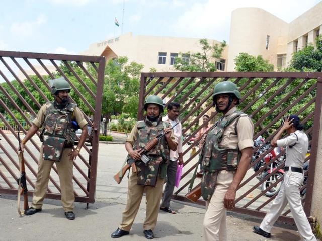 Security was beefed up on the district court premises in Bhopal on Friday following alleged SIMI threat.