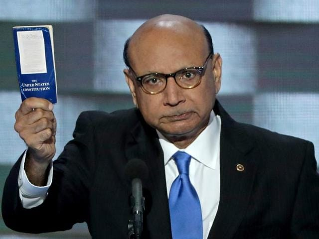 Khizr Khan, whose son Humayun Khan was one of 14 US Muslims who died serving the United States in the ten years after 9/11, speaks during the final day of the 2016 Democratic National Convention on Thursday, at the Wells Fargo Center in Philadelphia, Pennsylvania.