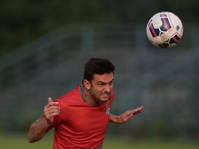 Portuguese player for Indian football team Atletico de Kolkata Helder Postiga takes part in a training session in Kolkata.