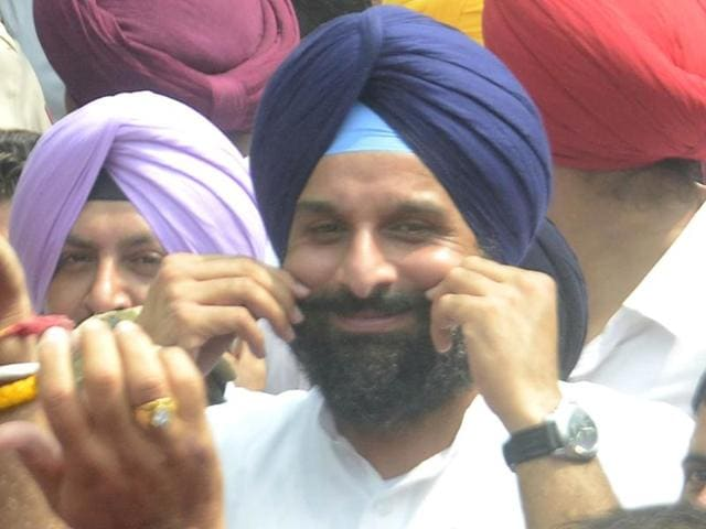 Bikram Singh Majithia at the district court complex in Amritsar on Friday.