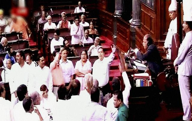 A scene in the Rajya Sabha in New Delhi on Thursday during the ongoing monsoon session.