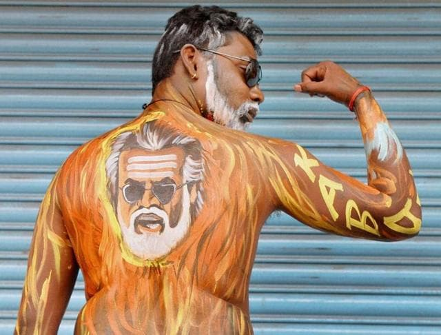 Fans of Rajinikanth crowd outside a cinema hall to celebrate the screening of Kabali in Chennai.