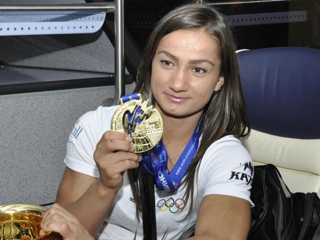 A file photo of Kosovo judo champion Majlinda Kelmendi.