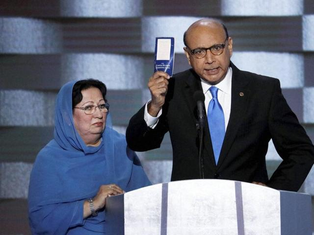 Khizr Khan and Ghazala at the Democratic National Convention in Philadelphia.(AFP)